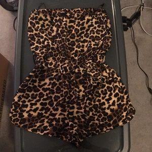 Forever 21 strapless cheetah romper